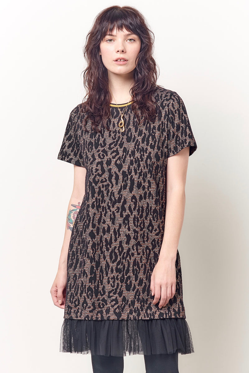 DARLING Tee Mini Dress with Tulle - Leopard