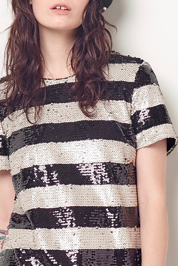 CLARE Stripe Shift - Sequin