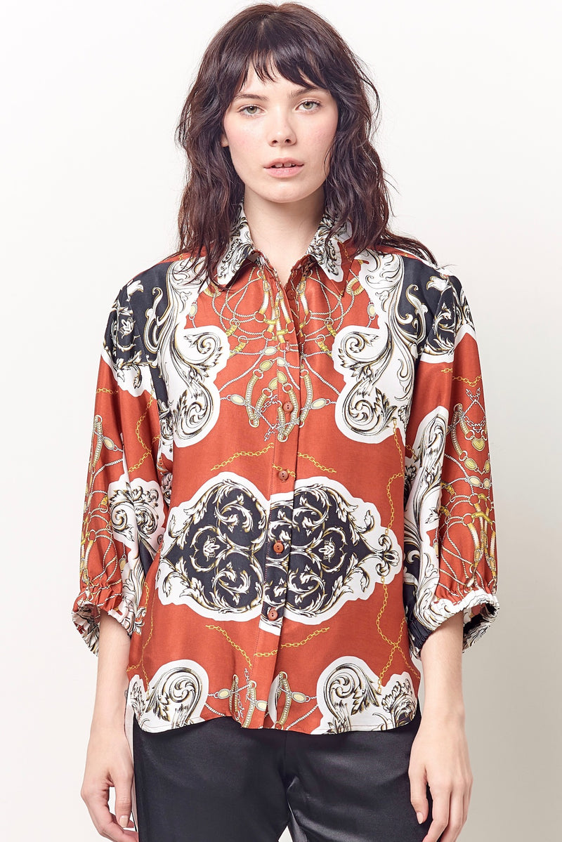 CATRIONA Button Up Blouse - Scarf