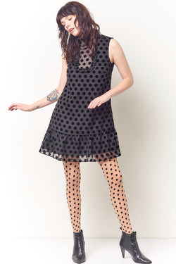 TWIGGY Ruffle Yoke Mini Dress - Velvet dot