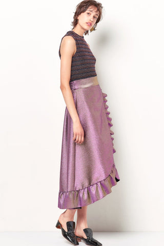 COURTNEY Ruffle Wrap Skirt - Metallic