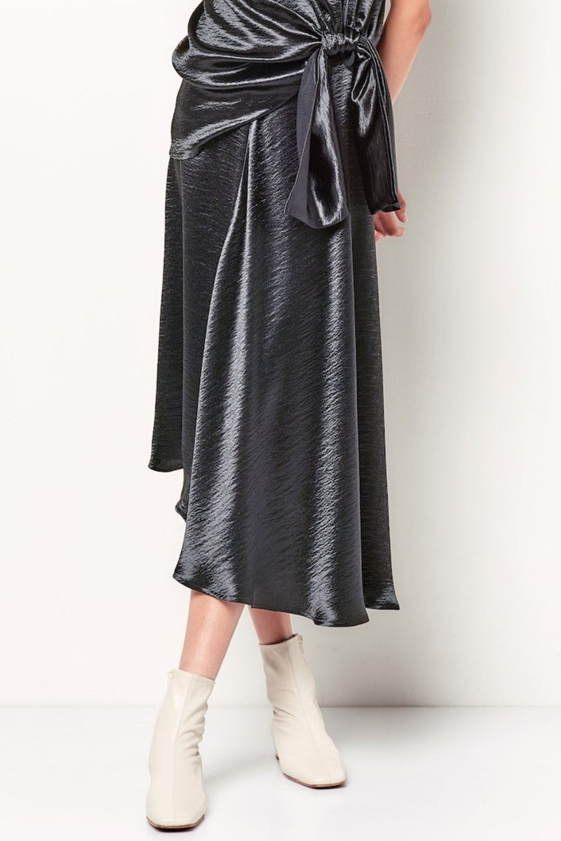 DENISE Asym Drape Skirt - Liquid