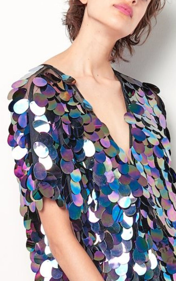 ANGELA Sequin Vneck Top- Sequin