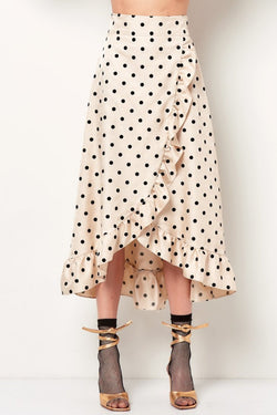 COURTNEY Ruffle Wrap Skirt - Dot