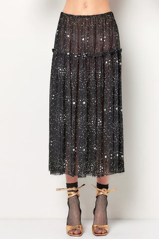 LAUREN Ruffle Layer Sheer Skirt - Star