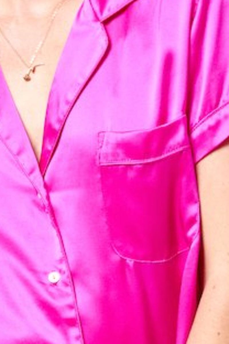 Hot Pink Silk Blouse