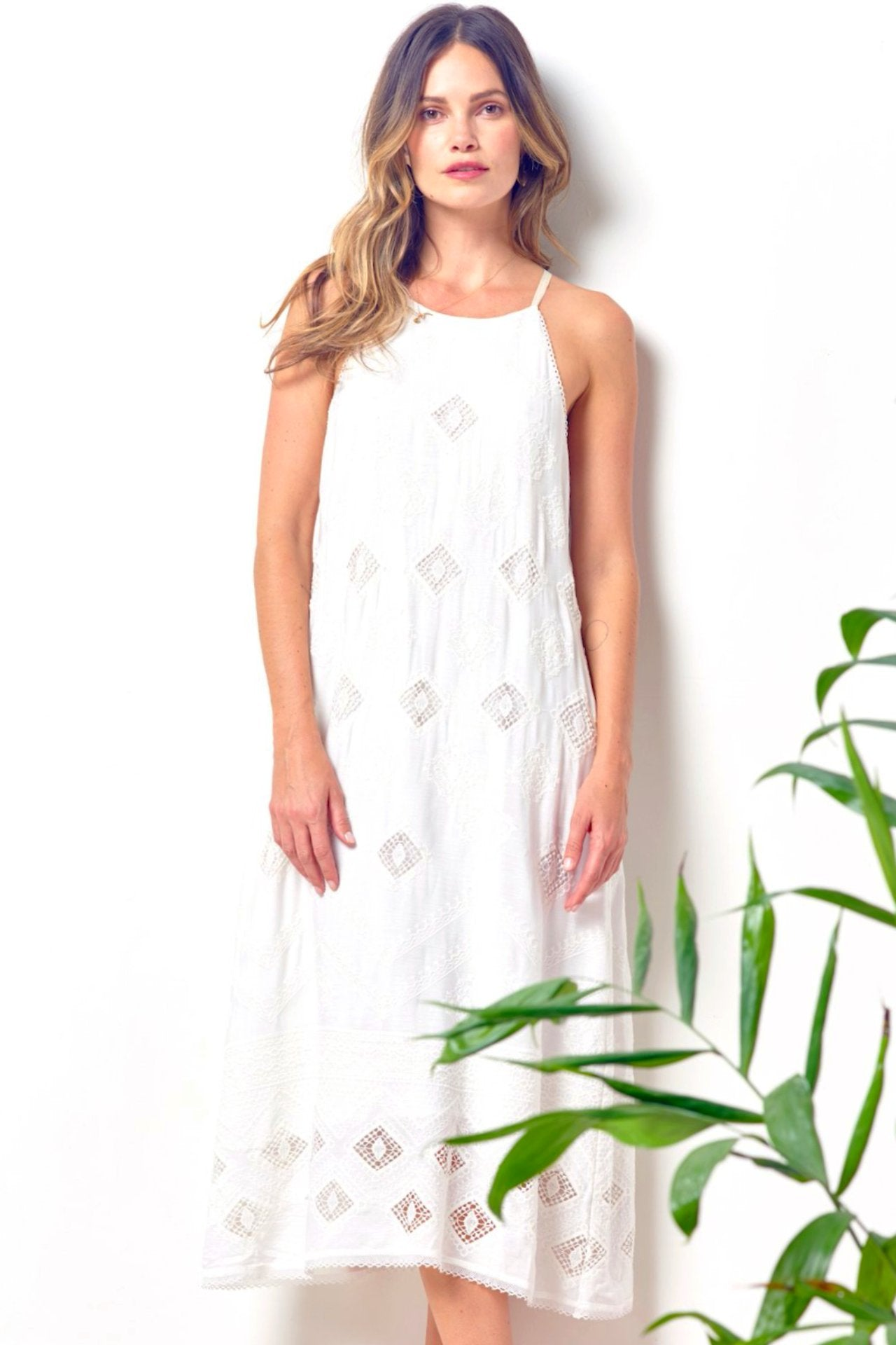 32deb38d1 ZOLA Embroidered Eyelet Halter White Dress   CLC by Corey Lynn Calter