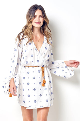 CASSIE Blouson Sleeve Wrap Dress