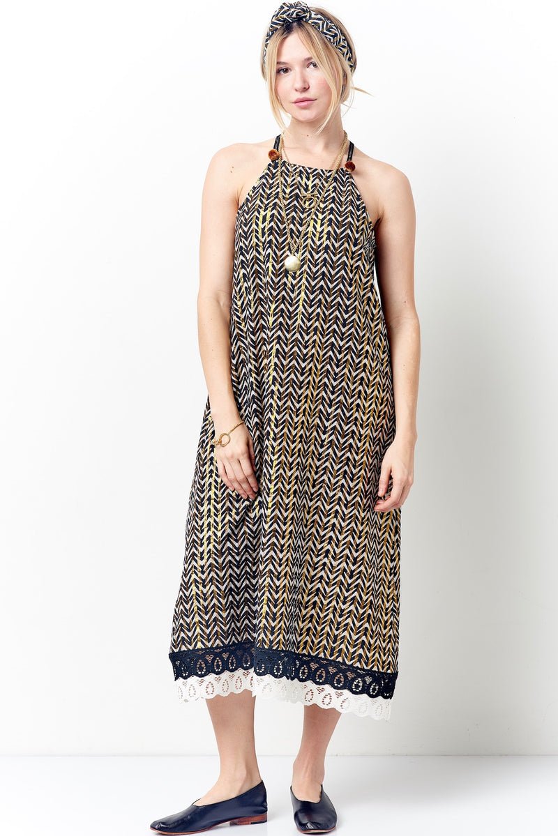 ZOLA Halter Dress - Metallic Stripe