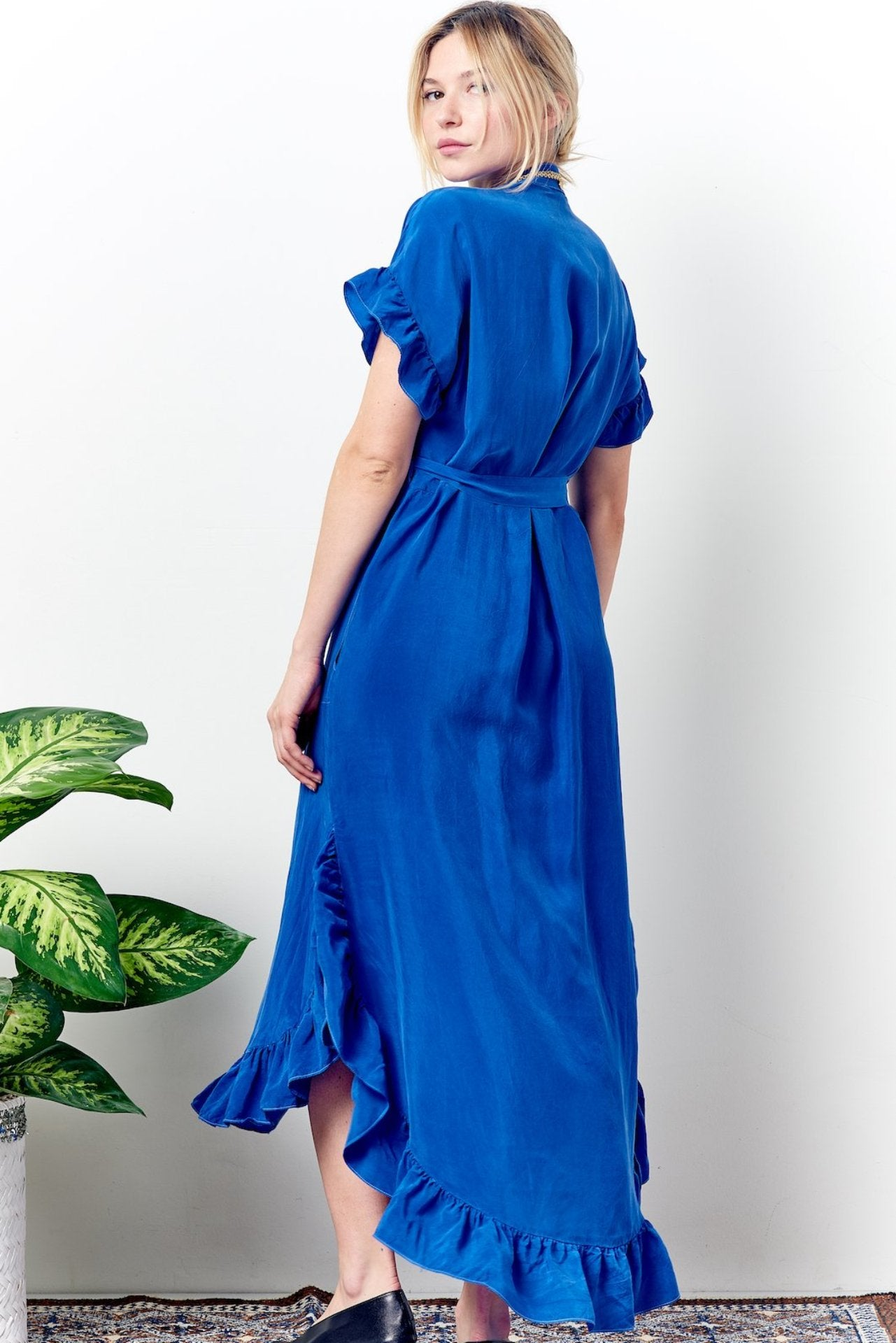 Long ruffled shirt dress