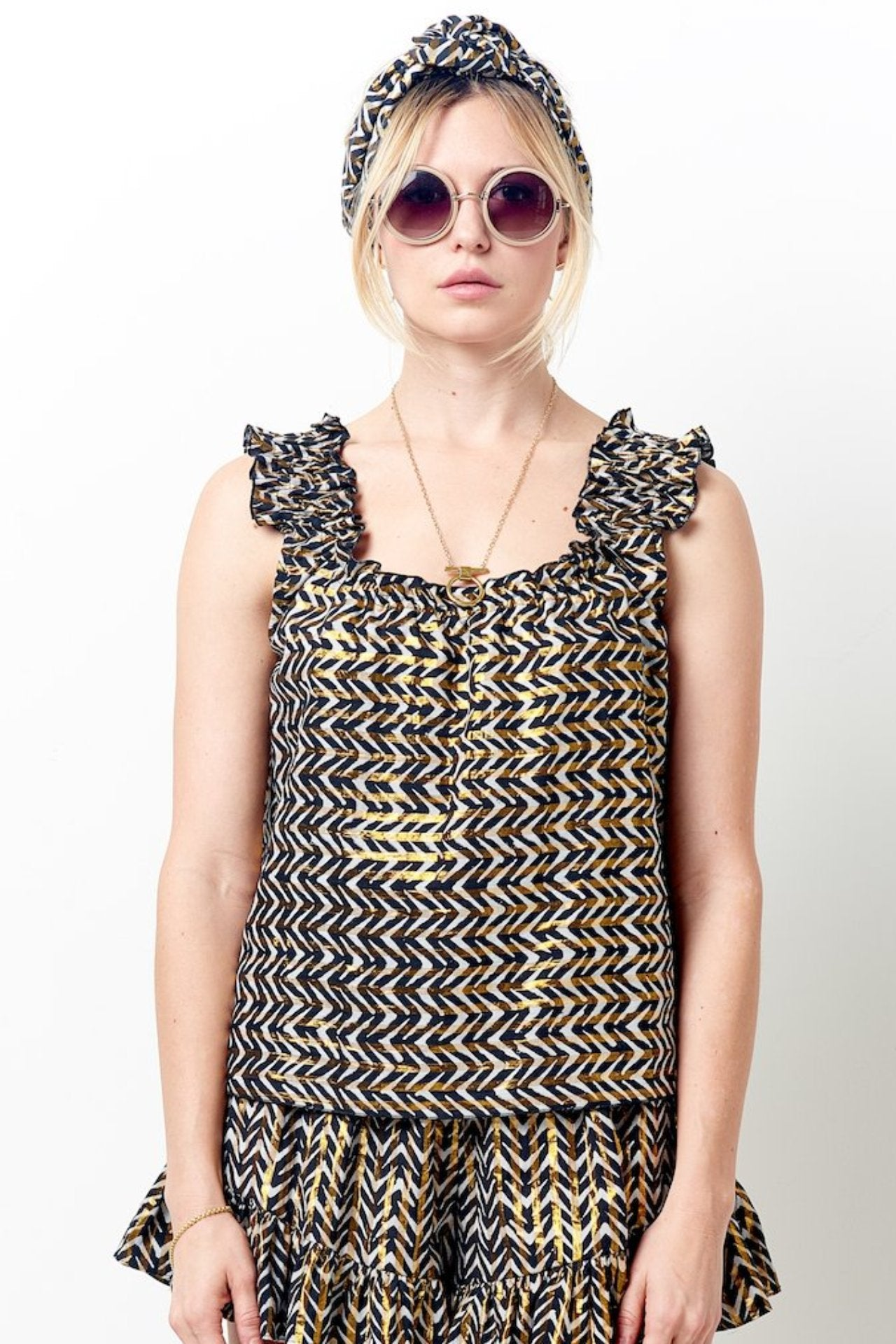 BONNIE Ruched Top in print