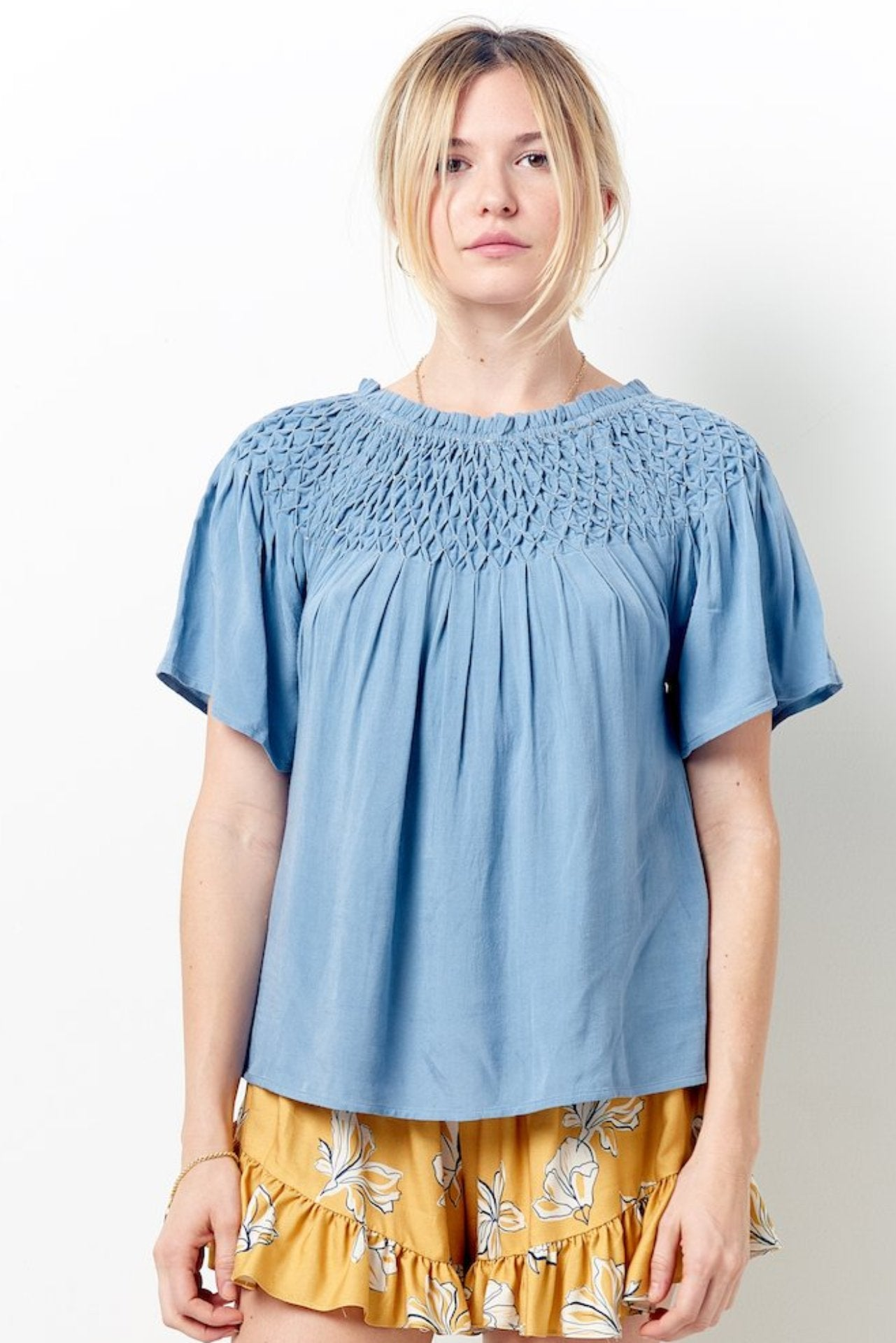 BRENNA Hand Smocked Peasant Top