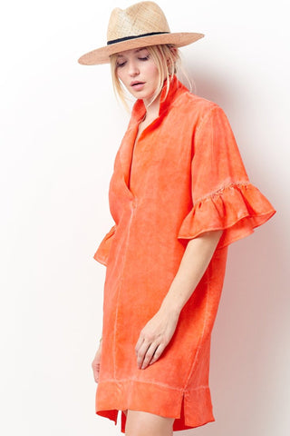 TERESA Column Dress in Stretch Velvet- Cognac + Moss