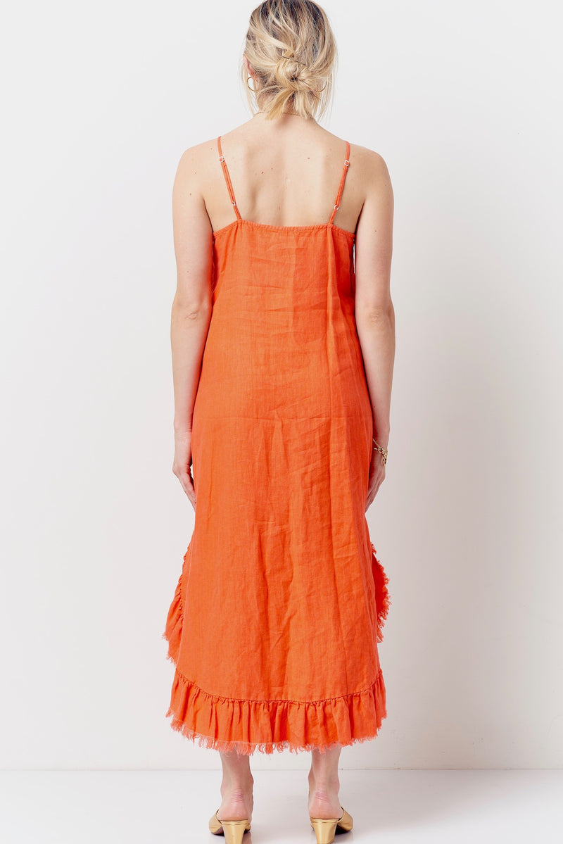 GRACE Ruffle Hem Slip Dress- Linen