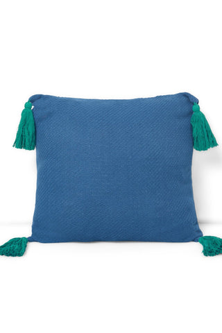 Blue Jacquard Fringe Pillow