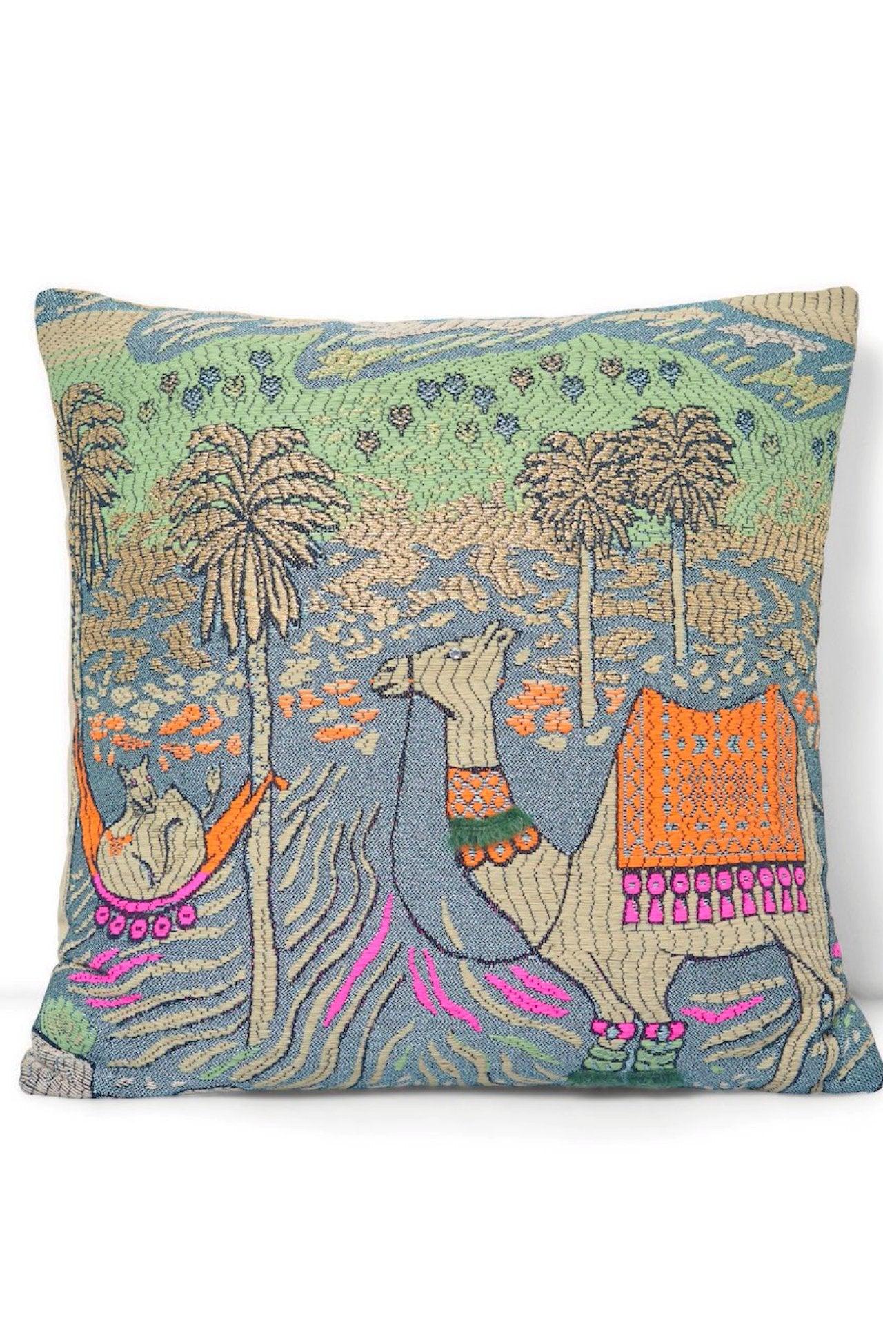 Jacquard Camel/Egypt Square Pillow