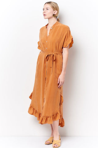 ruffled midi dress