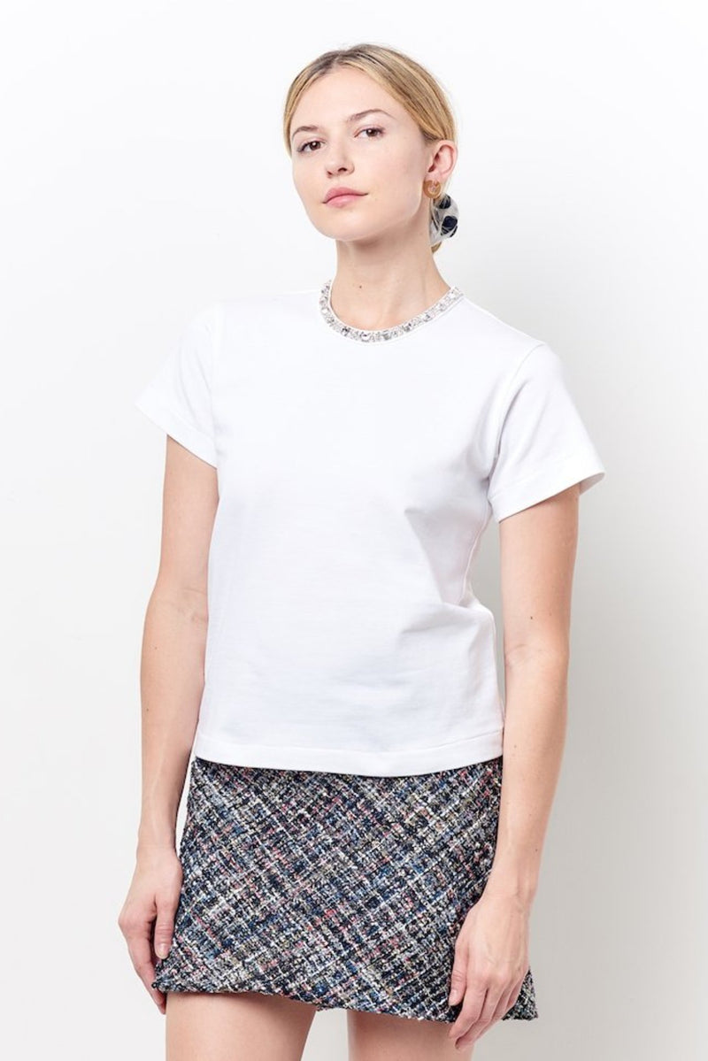 MOLLY Crew Neck Tee with Rhinestones