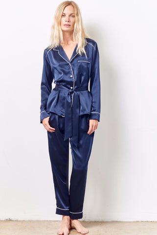 SIENNA Silk cocktail pajama set with sash MIDNIGHT