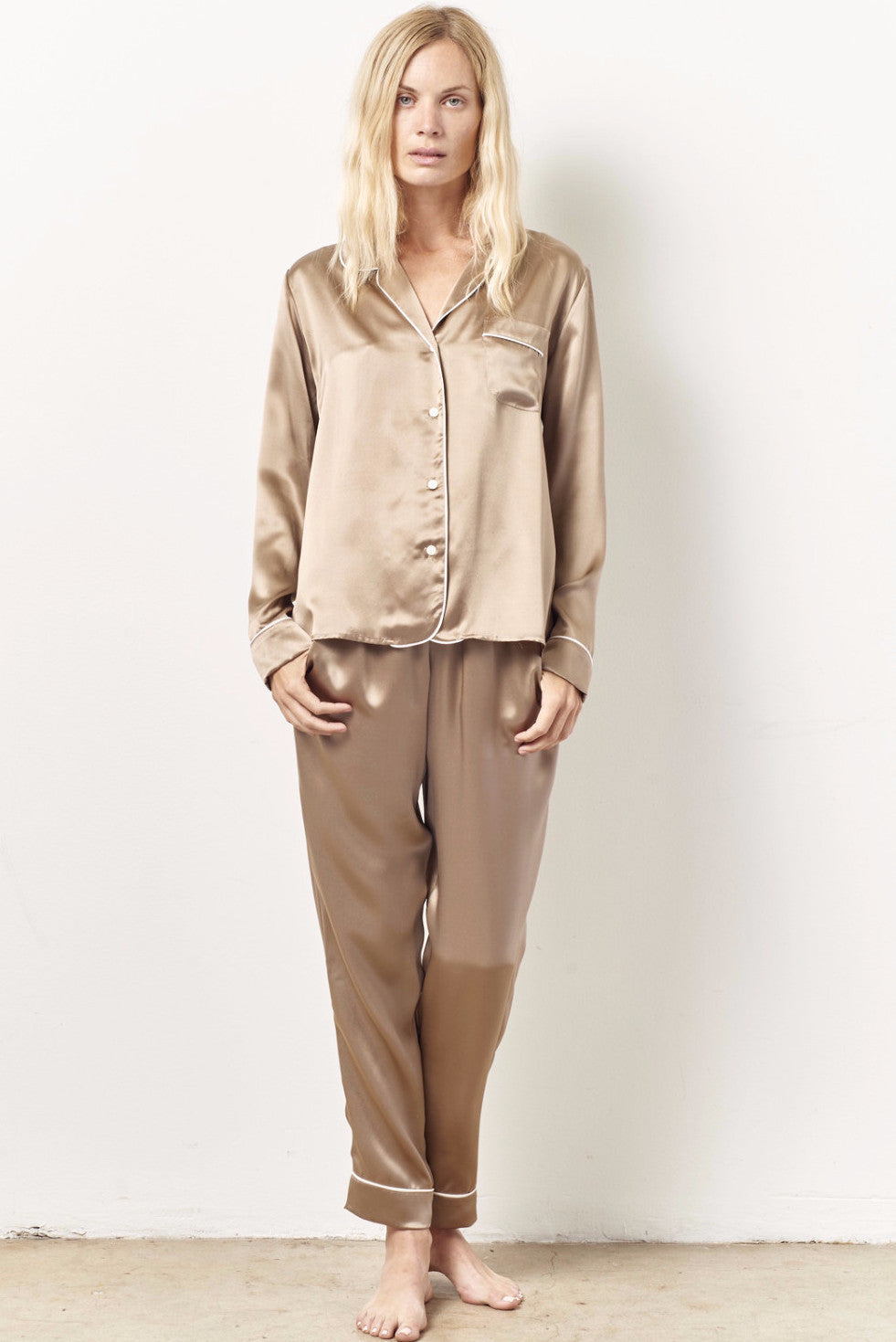 SIENNA cocktail pajama set with sash SAND