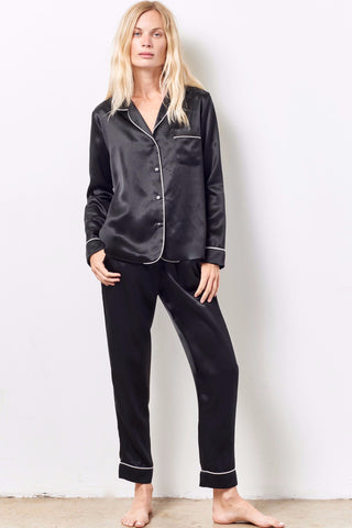 SIENNA Silk cocktail pajama set with sash BLACK