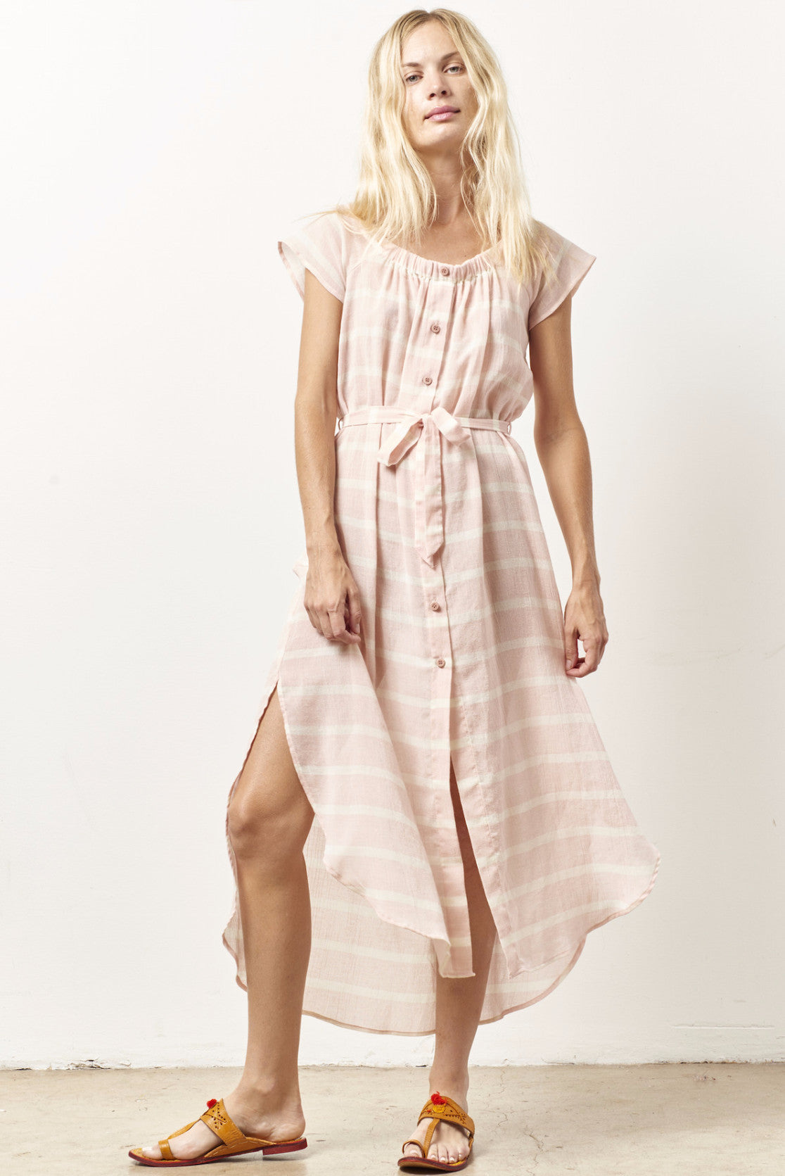 EDIE off the shoulder shirt dress PINK stripe