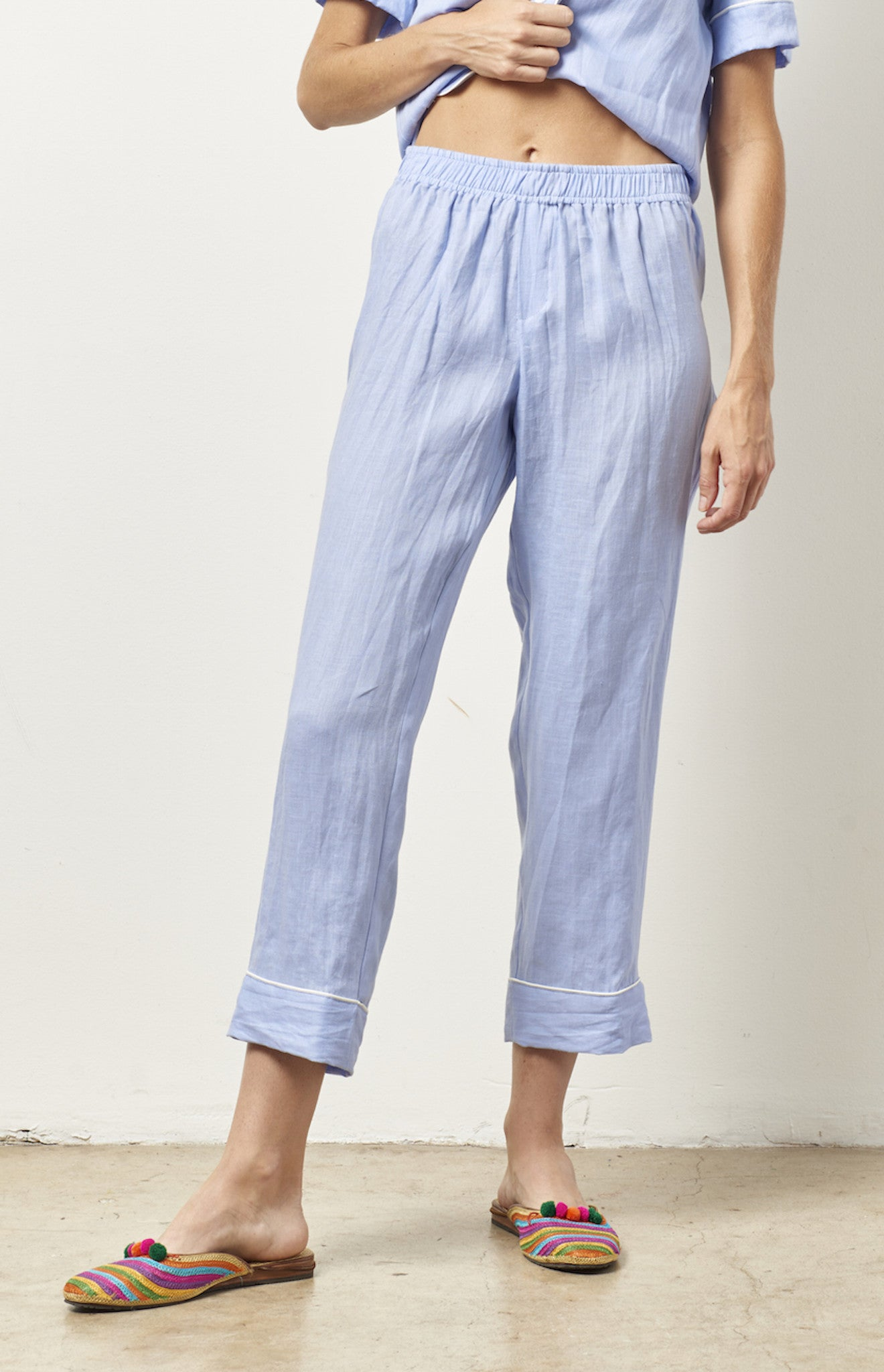 ARIANNA Linen classic short sleeve cropped set BLUE