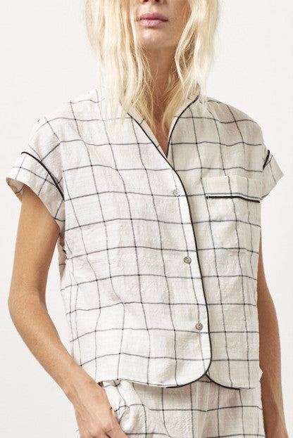 KACEY Cotton short sleeve tap set PLAID
