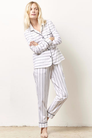 SIENNA Cotton classic whites in shirting with black piping B/W STRIPE
