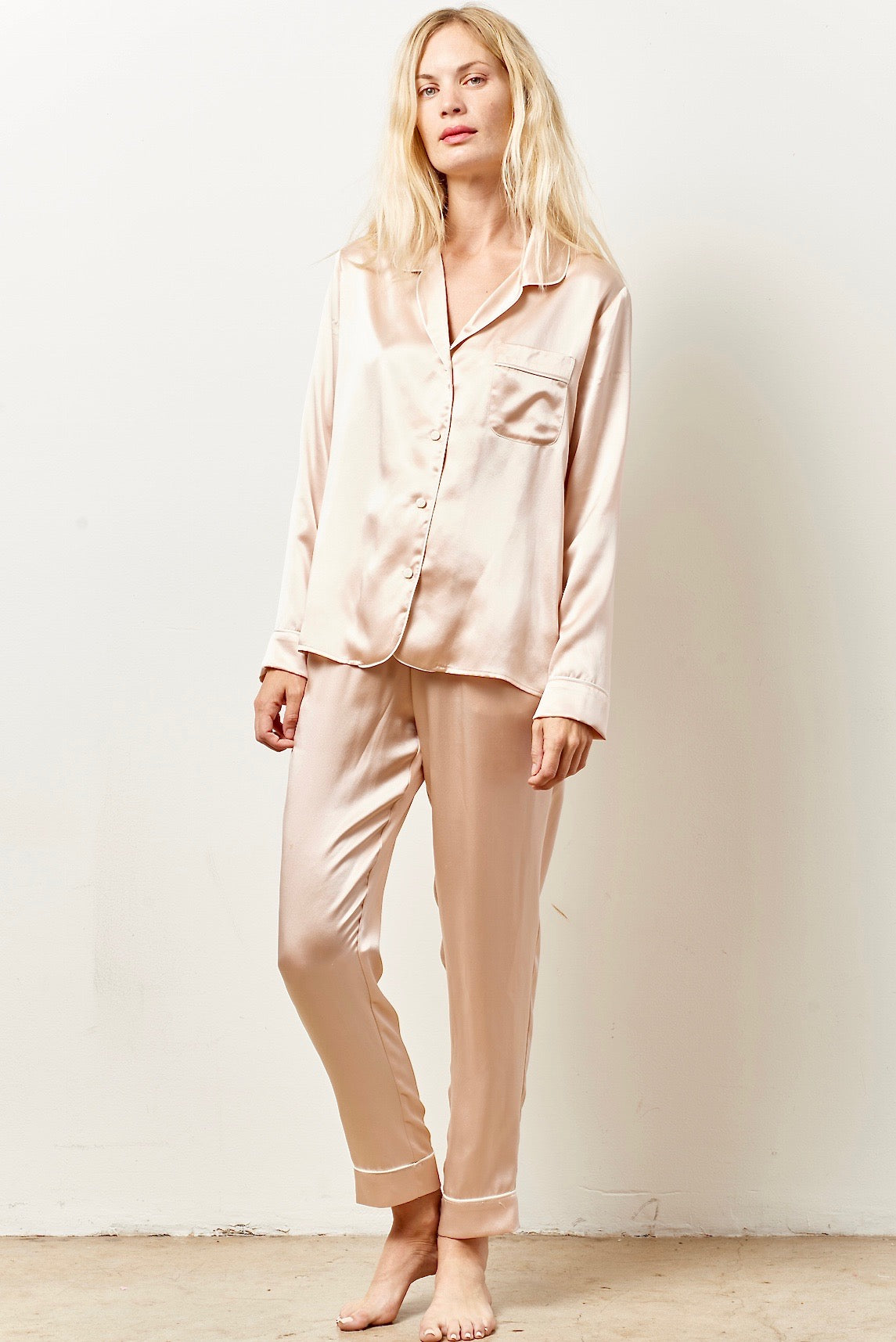 b4b51fe532cc SIENNA Silk cocktail pajama set with sash PALEST PINK – CLC by Corey Lynn  Calter