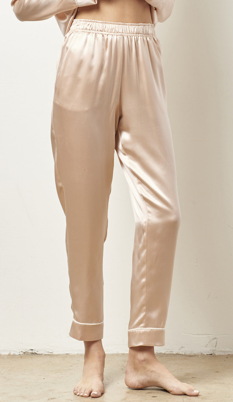 SIENNA Silk cocktail pajama set with sash PALEST PINK