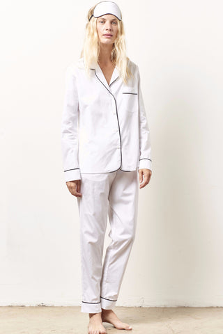 SIENNA Cotton classic whites in shirting with black piping WHITE