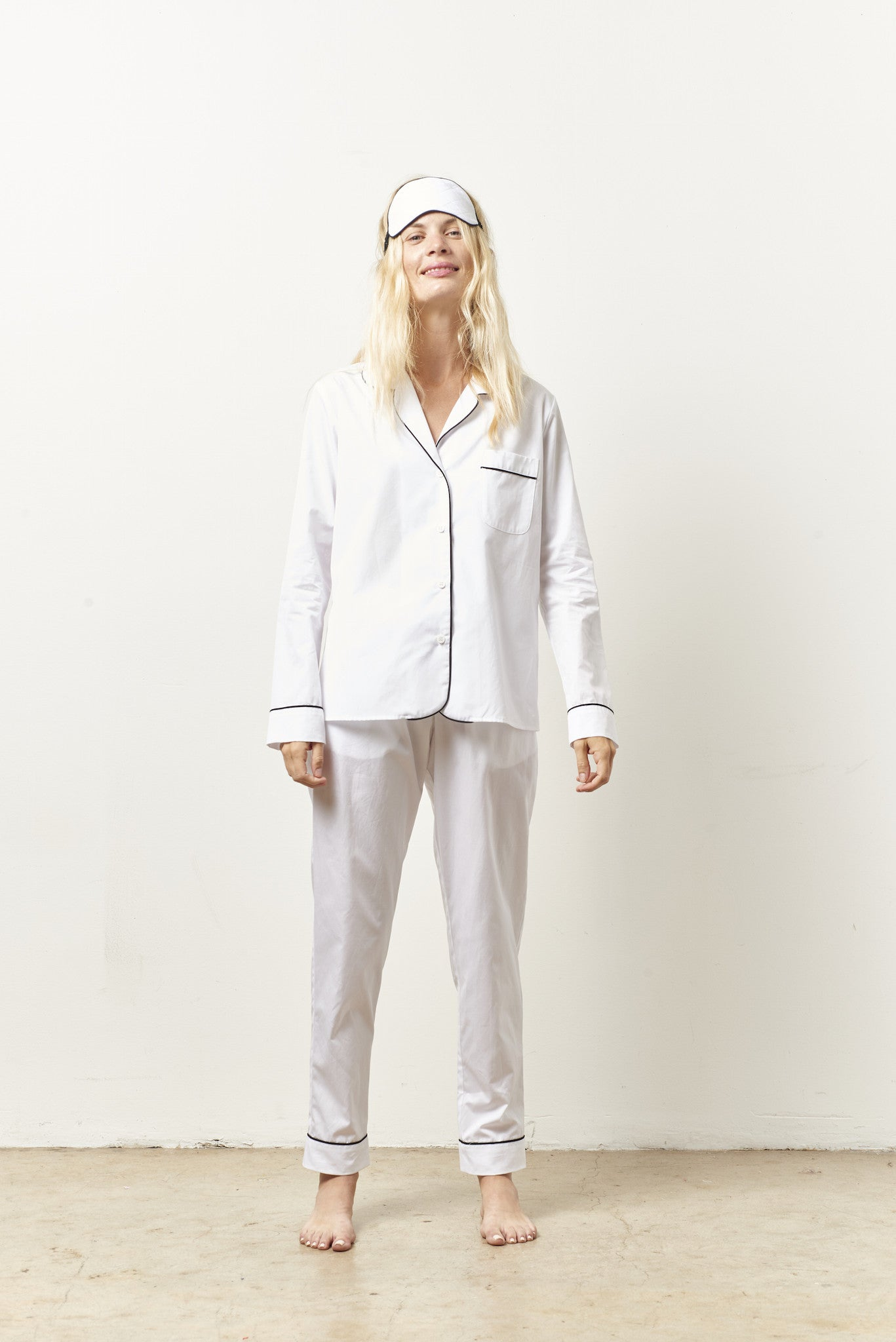 SIENNA classic whites in shirting with black piping WHITE