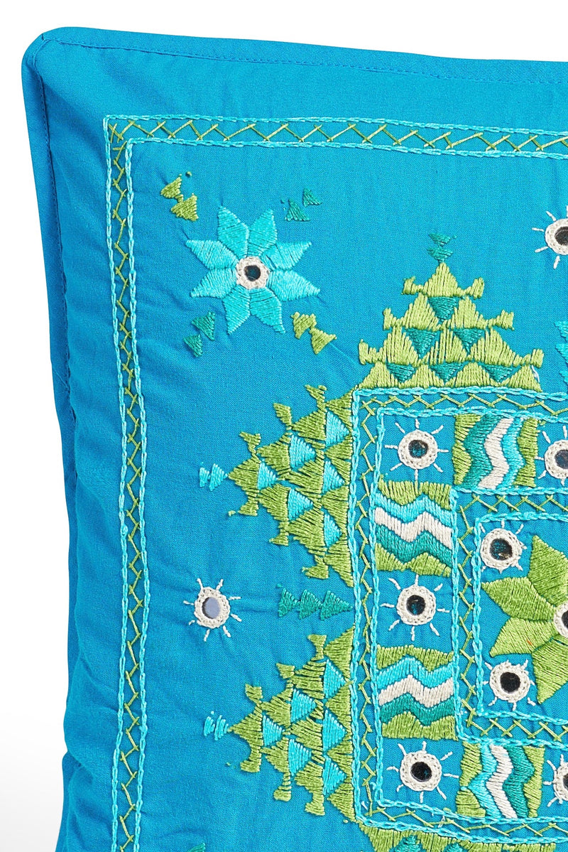 Embroidered Boarder Pillow - Turq