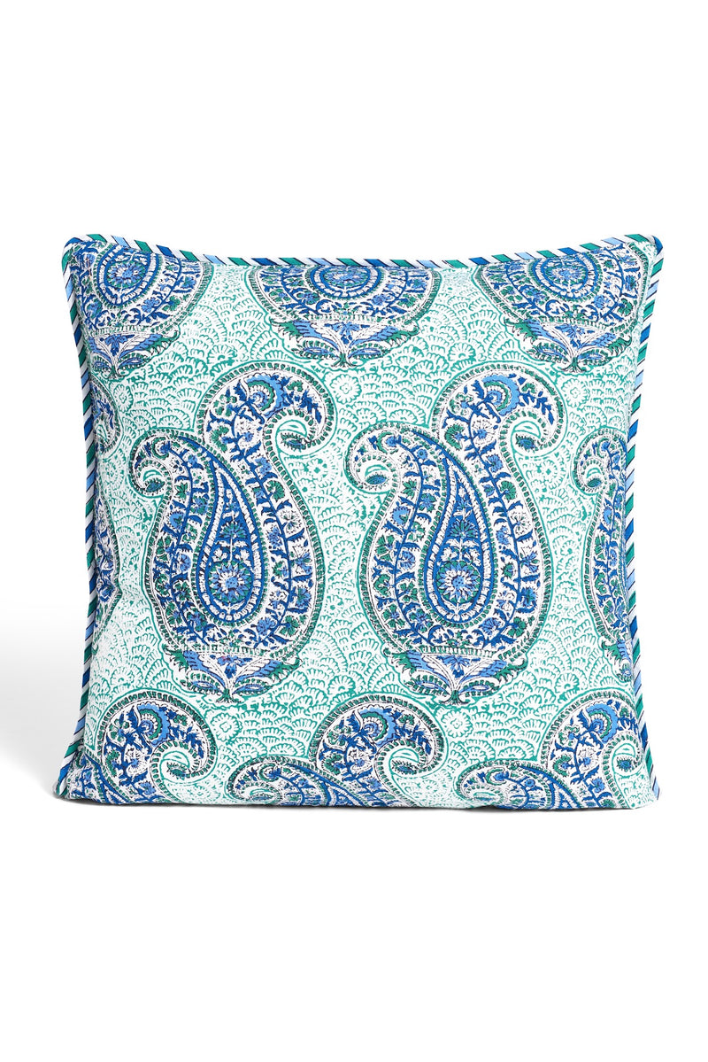 Block Printed Pillow - Blue