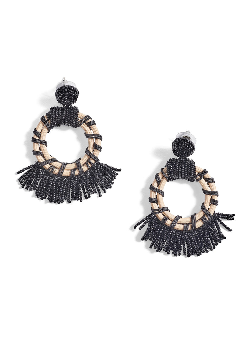 Beaded Round Fringe Earrings