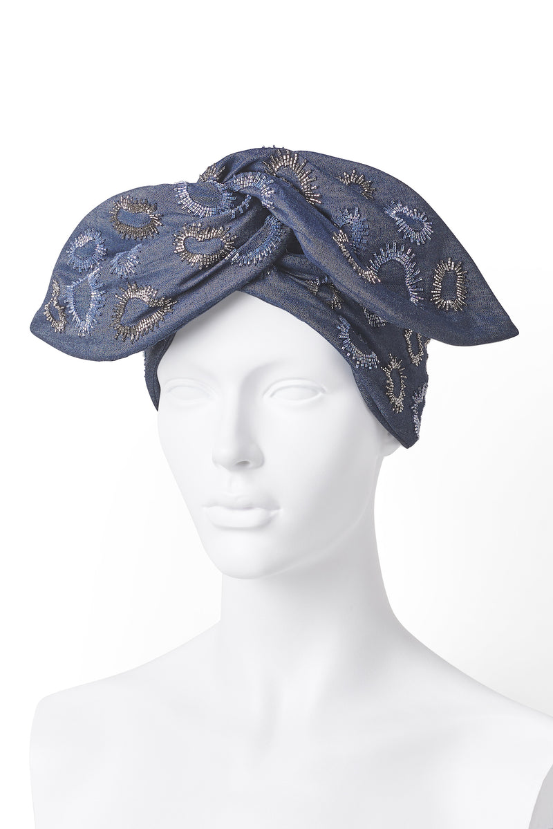 Beaded Wire Head Wrap - Navy