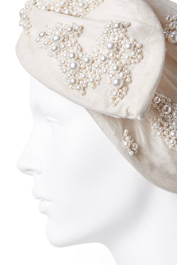 Beaded Wire Head Wrap - Ivory