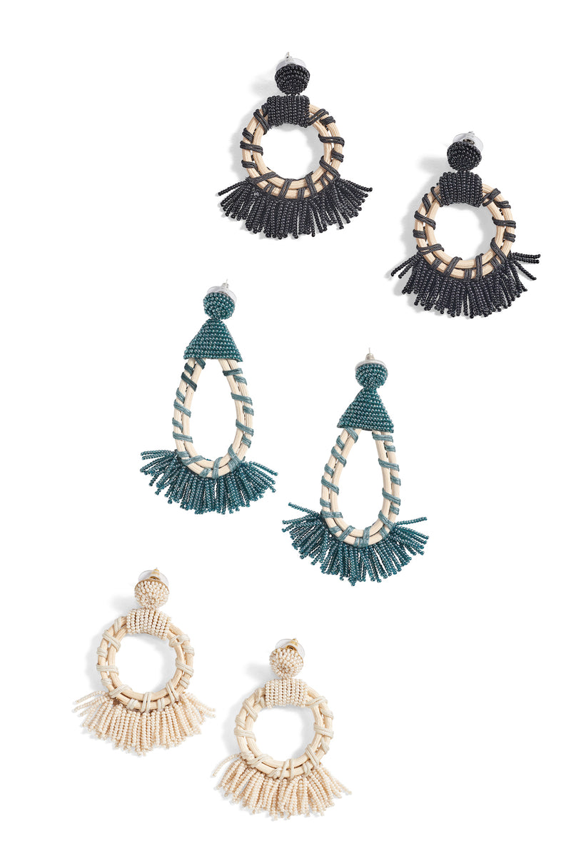 Beaded Tear Drop Fringe Earrings