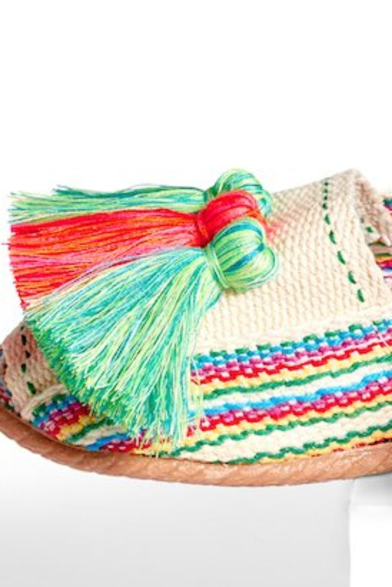 Woven Slides with Tassels- Multi