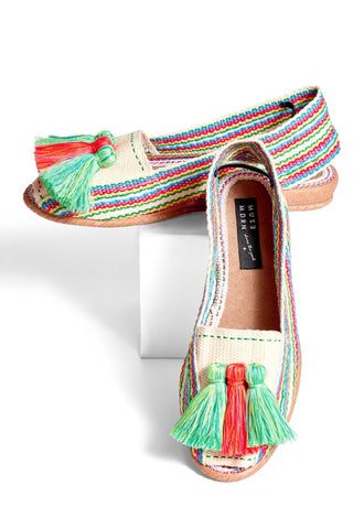 b7b5503b857 Woven Slides with Tassels- Multi