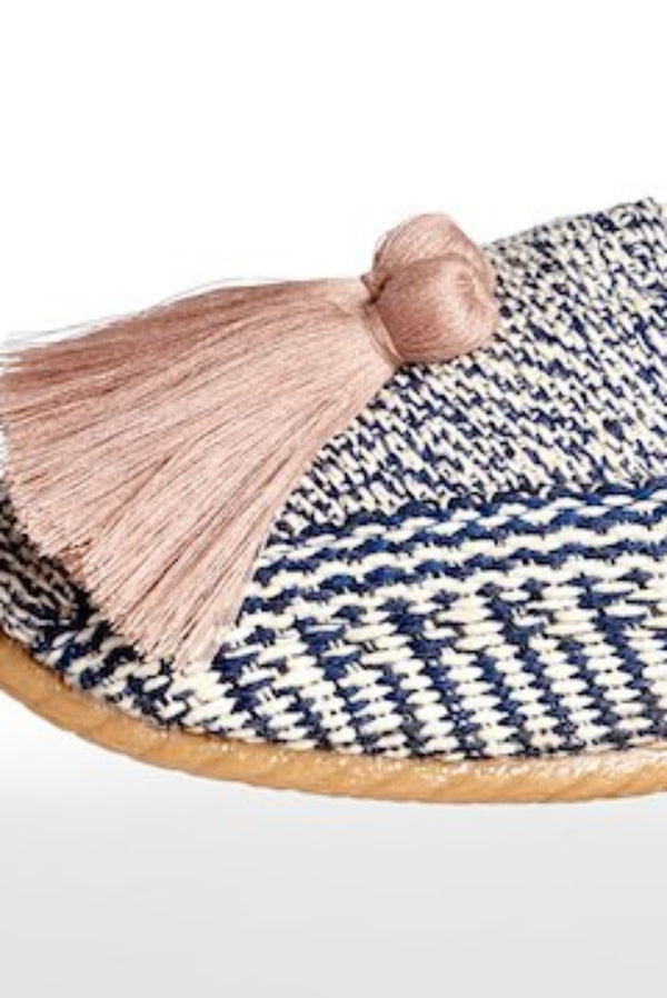 Woven Slides with Tassels- Navy/Iv