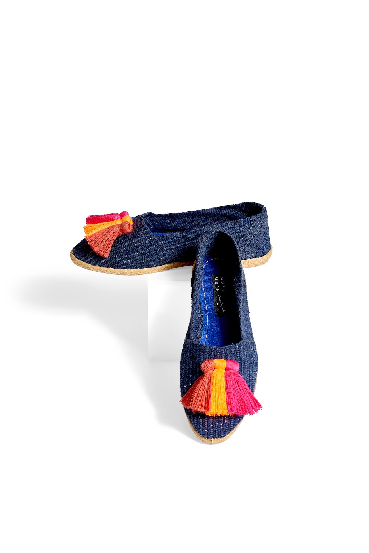 Woven Slides with Tassels- Indigo