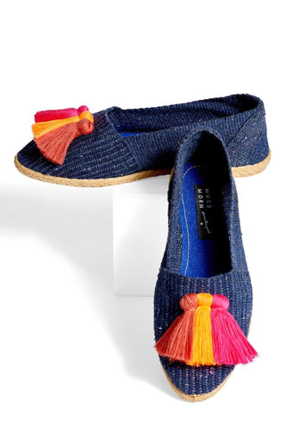 218a618277e Woven Slides with Tassels- Indigo