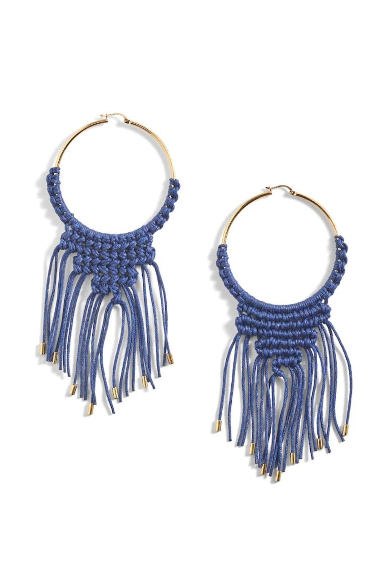 Medium Macrame Hoop Earrings
