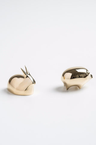 NOUSAKU solid brass figurines RABBIT/GOLDEN PIG