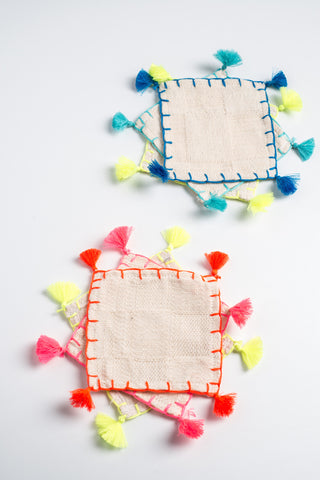 LULA MENA coasters/napkins with tassels
