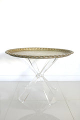 "Lucite Table Base with Antique 30"" Moroccan Tea Tray"