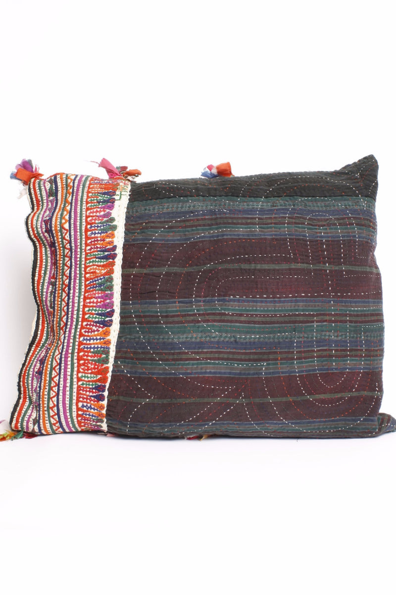 Hand Embroidered Antique Textile Pillow