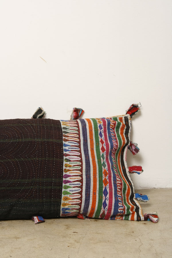 Hand embroidered Vintage textile body pillow